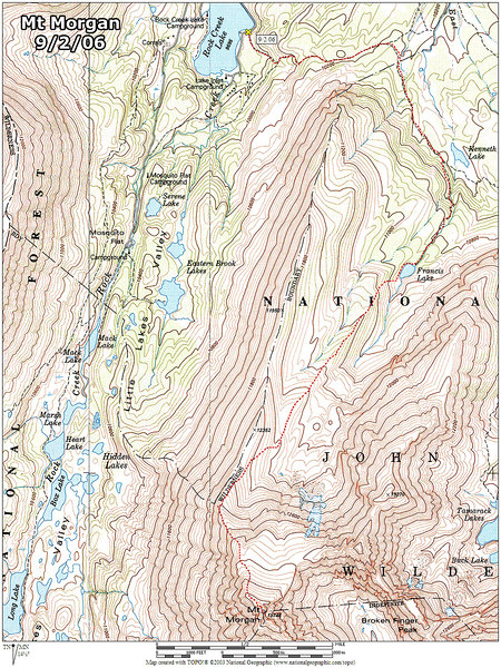 Map showing the route we used. The hike turned out to be 10.2 miles round trip with a 4,200' gain.<br /> <br /> THE END
