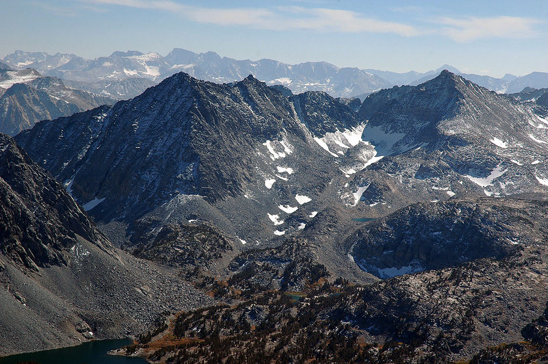 Morgan Pass on the left and a little section of Chickenfoot Lake in the lower left. Pyramid Peak at 12,866' on the right.