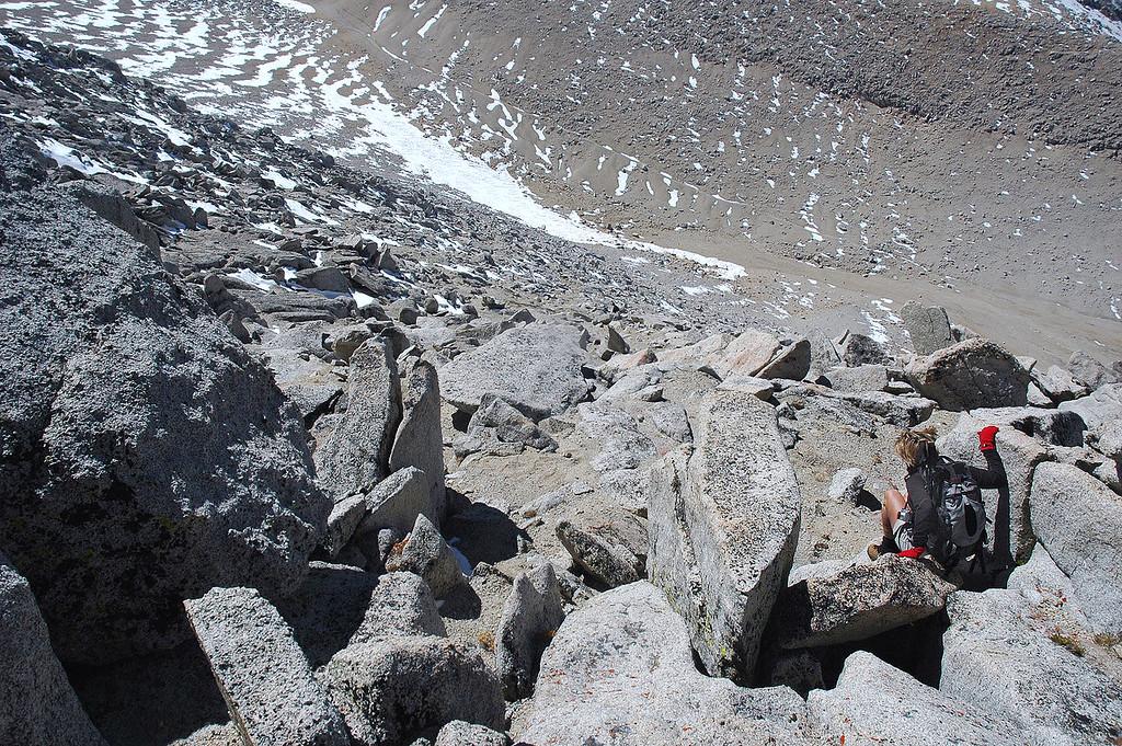 Sooz making her way down the rocks.