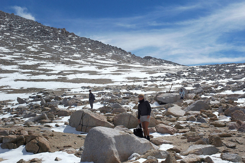 On Mono Pass at 12,000'. We took a short break here to put on more clothes, it's windy.