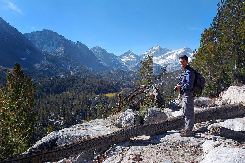 Jay with the view to the south as we start gaining altitude on the trail to Mono Pass.