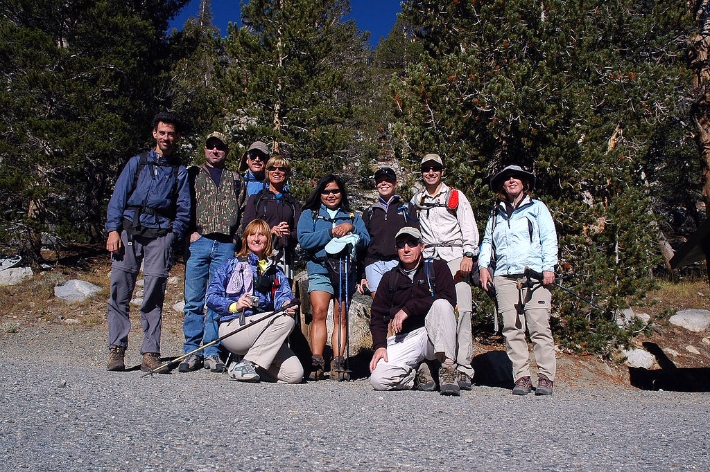 Jay, Dale, Frank, Sooz, Maria, Rebecca, Dave and Kathy standing. Theresa and me, Joe up front. We will be splitting up into two groups. The group I'm with will go for Mount Starr, while the others will head towards Morgan Pass.