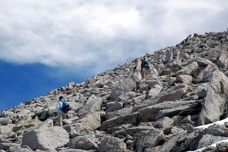 The rocks slowed us down, Jay is up ahead.