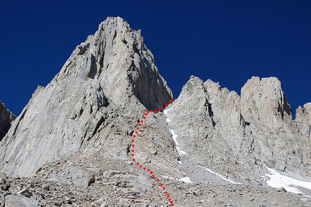 The route we used to reach the notch.