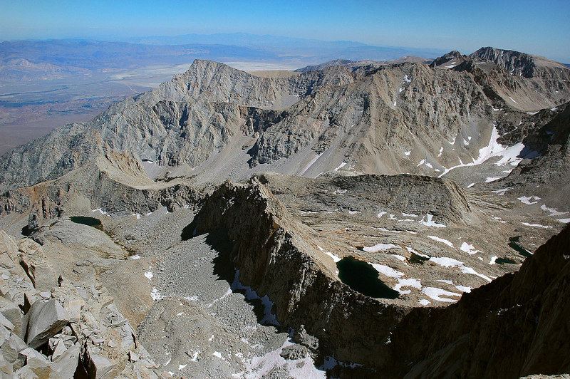 Looking down Pinnacle Ridge with Lone Pine Peak 12,944' on the left.