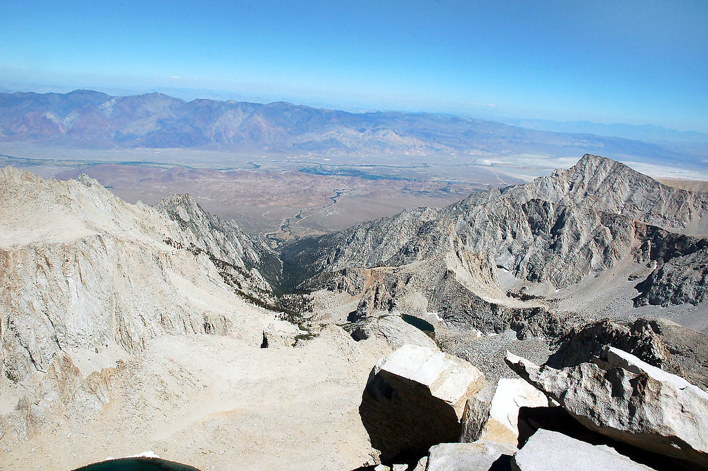 Looking down on the town of Lone Pine (green area) 10,500' below.
