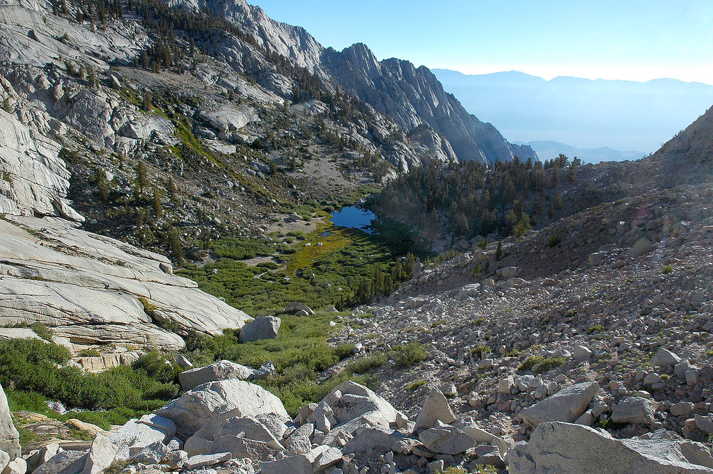 Looking back down at Lower Boy Scout Lake and it's meadow.