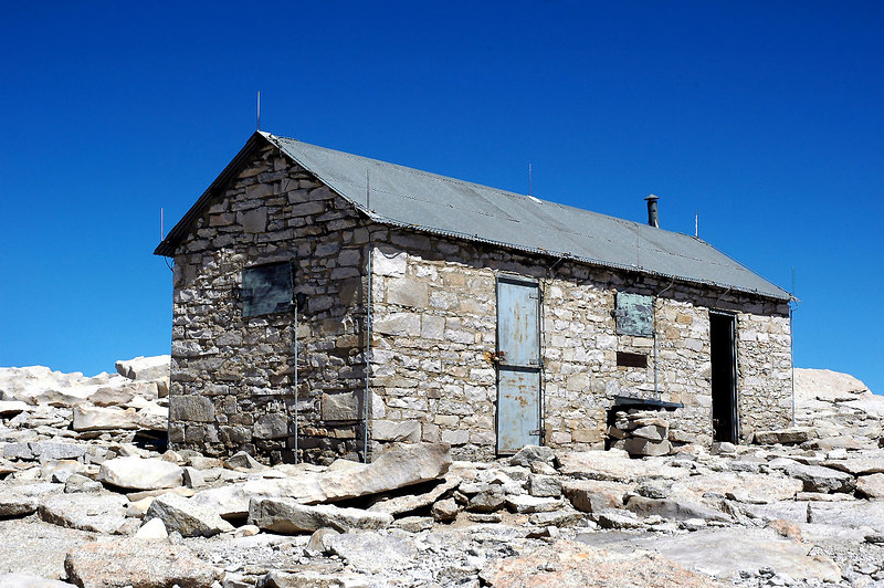 The summit hut. The cool looking wooden door is gone???