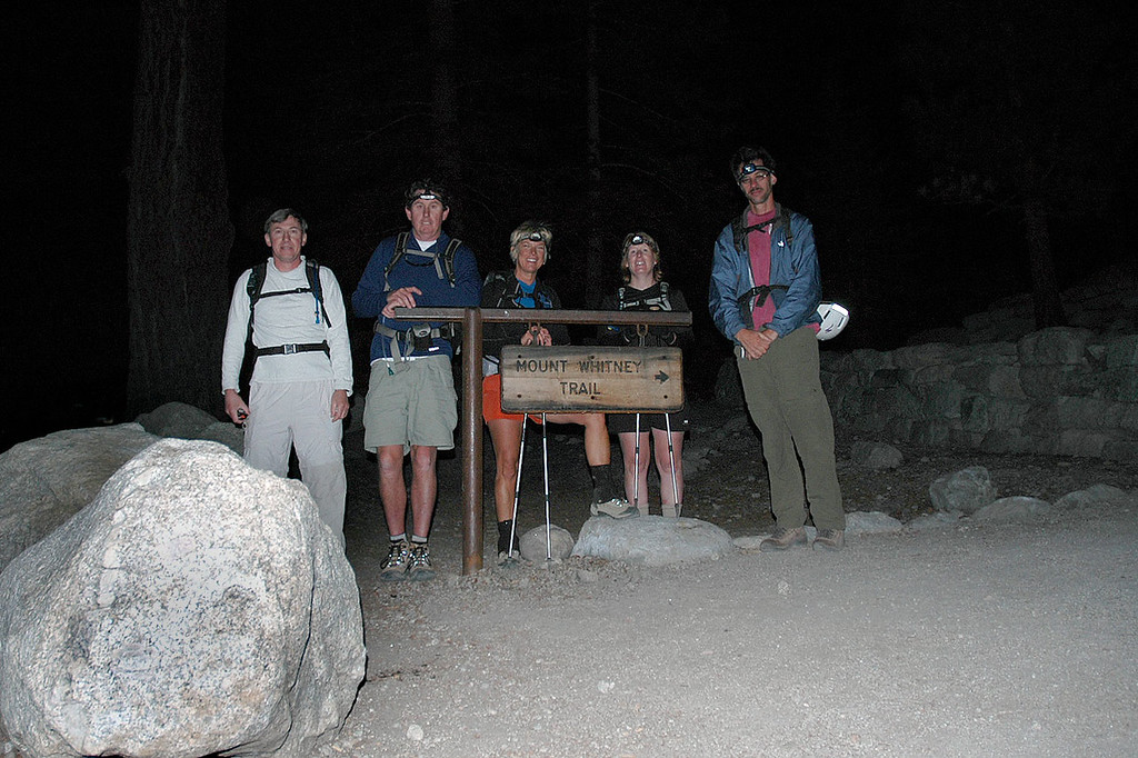 Joe (me), John, Sooz, Kathy and Jay at the trailhead at 8,300' for the early morning start.