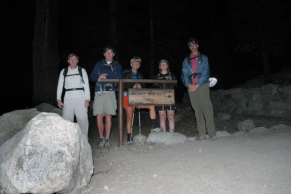 Joe (me), John, Sooz, Kathy and Jay at the trailhead at 8,300' for the early morning start.