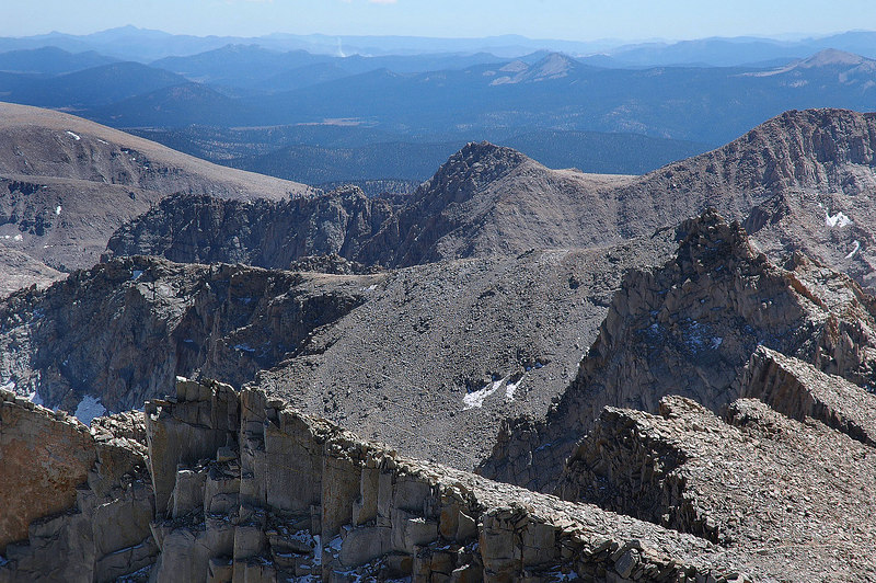 Looking over the Keeler Needle at some of the 99 switchbacks on the main trail. We will be descending on that trail.