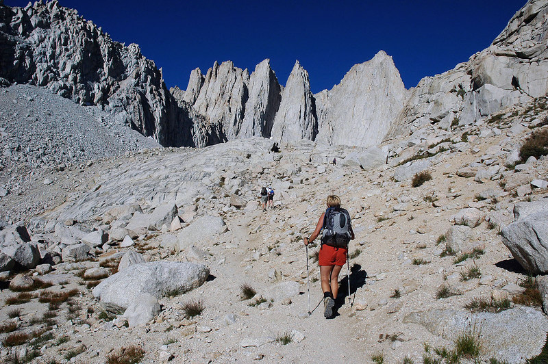 Mount Whitney and the Needles come into view as we head for Iceberg Lake.