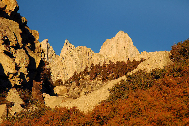 Early morning light on Mount Whitney and the Needles.
