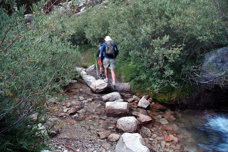 Crossing the stream near Outpost Camp.