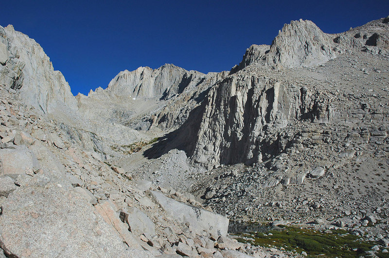 Mount Russell 14,086'. A small section of Upper Boy Scout Lake can be seen in the lower right.