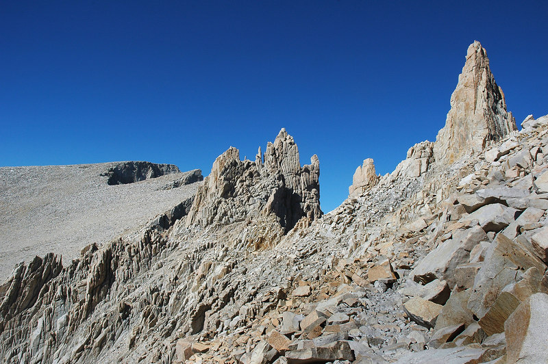 Last view of the south side of Whitney with some cool looking rock formations.