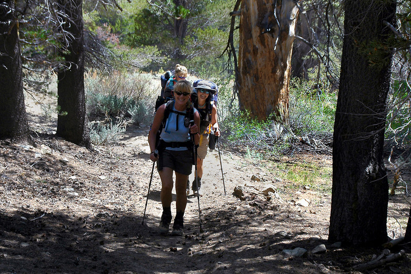 Norma, Cori and Sooz hiking along Summit Meadow.