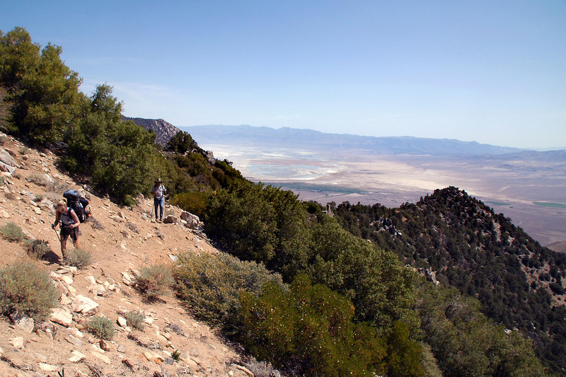 Norma and Tom on the trail with Owens Lake in the valley below.