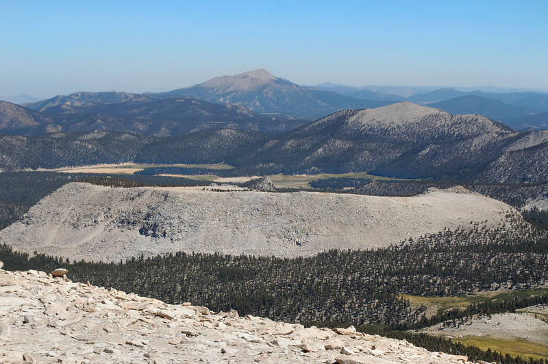 Zoomed in on Olancha and Trail Peaks with Horseshoe Meadow at center of photo.