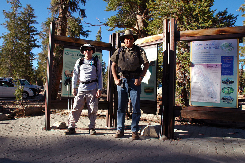 Joe(me) and Tom at the Cottonwood Lakes Trailhead at 10,000 feet. The plan is to hike to Owens Point, then on to Woollyback.