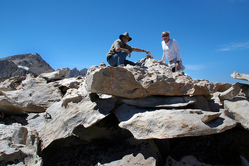 Tom and me on Woollyback at 12,840 feet. The peak on the left is Mount Langley.