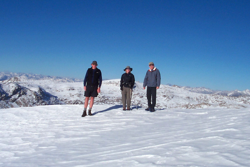 A group shot just off the summit at 11,200 feet, to much ice for us to climb the last 20 feet.