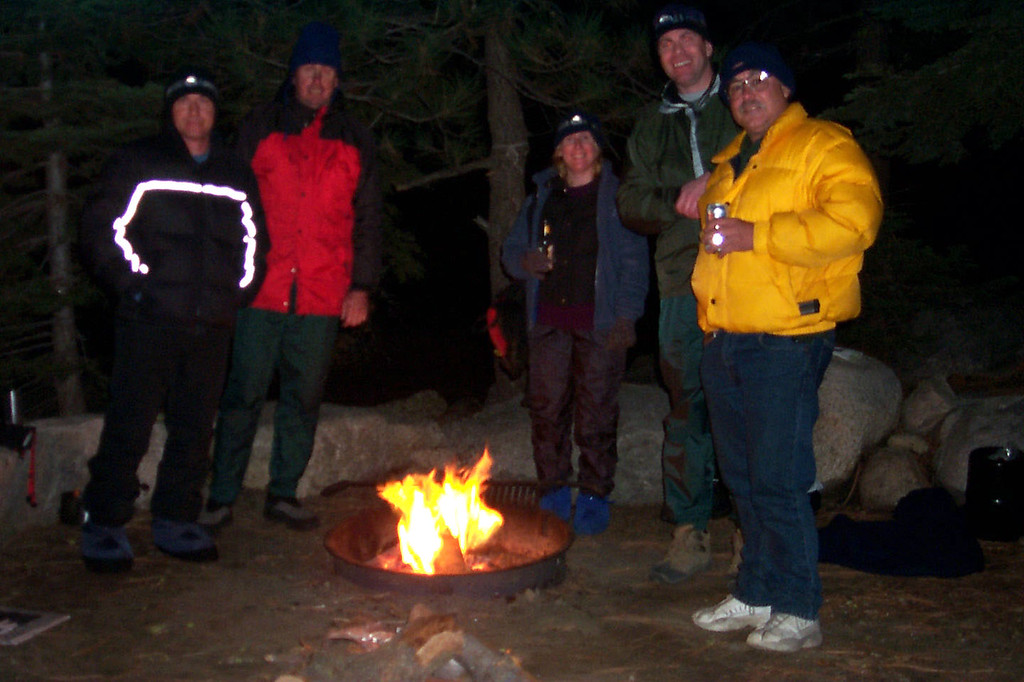 Joe(me), John, Kathy, Ken and Bob around the campfire. When we got back to camp, Ken and Bob were there waiting for us.