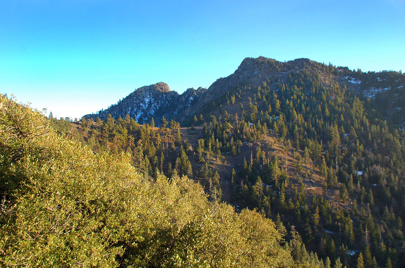 Looking back at the peak and saddle as we start the long 6.5 mile hike on the PCT back to the trailhead.