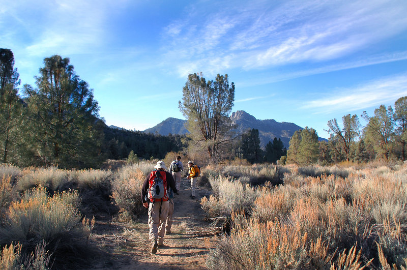 The route we used for the hike to Spanish Needle started near the Chimney Peak Campground. We'll follow the PCT to a saddle, then traverse a slope to the peak.