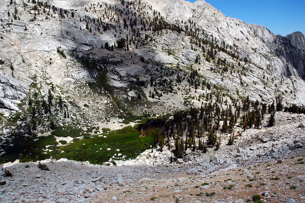 Looking down on Lower Boy Scout Lake and it's meadow.