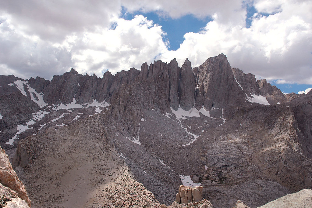 Looking west at Mount Whitney at 14,494 feet on the right and Mount Muir at 14,015 feet on the left.