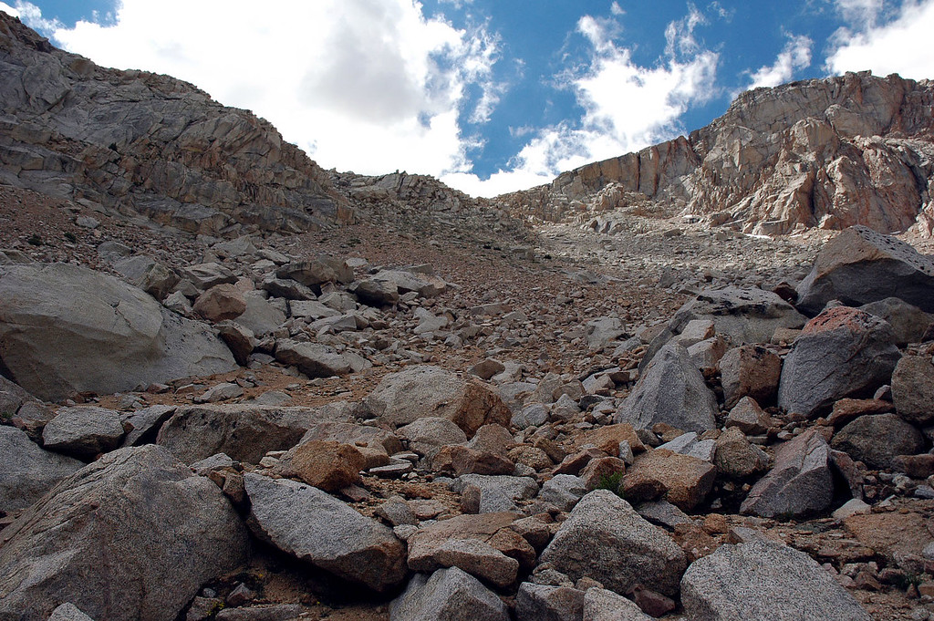 Looking up the slope from about half way up.