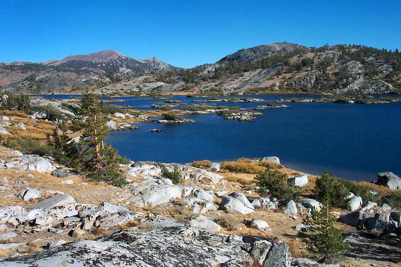 Looking back on Thousand Island Lake as we start to climb. San Joaquin Mountain and Two Teats in the distance.