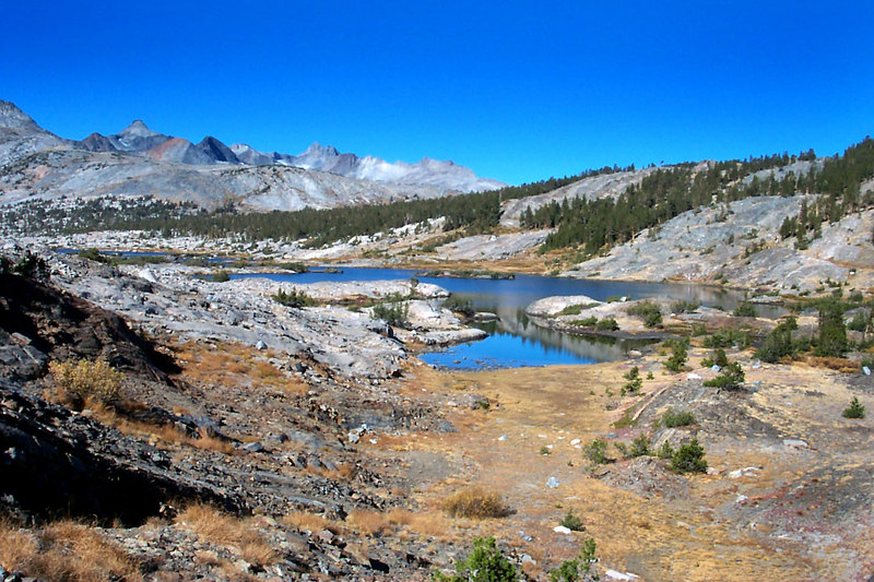 Looking back on Thousand Island Lake and part of the Ritter Range as we hike out on the JMT.