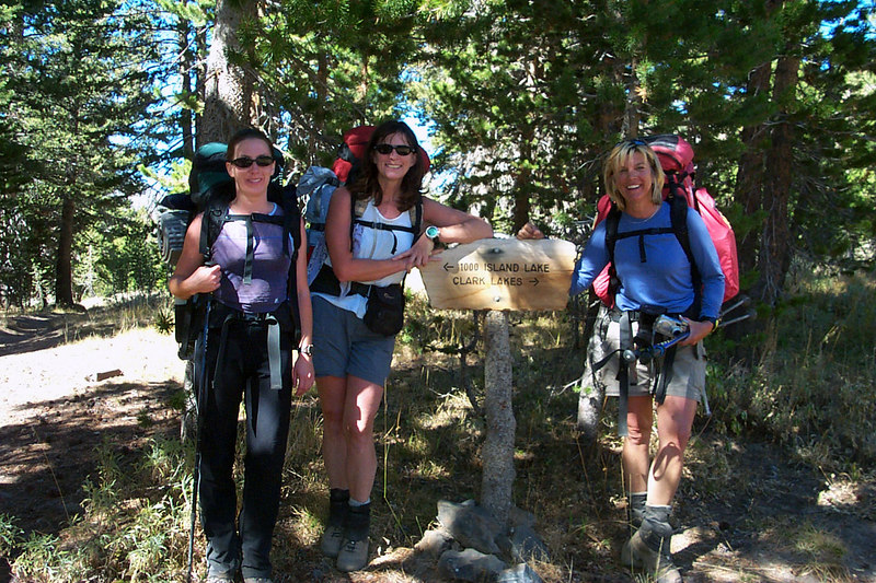 The girls at a trail junction.