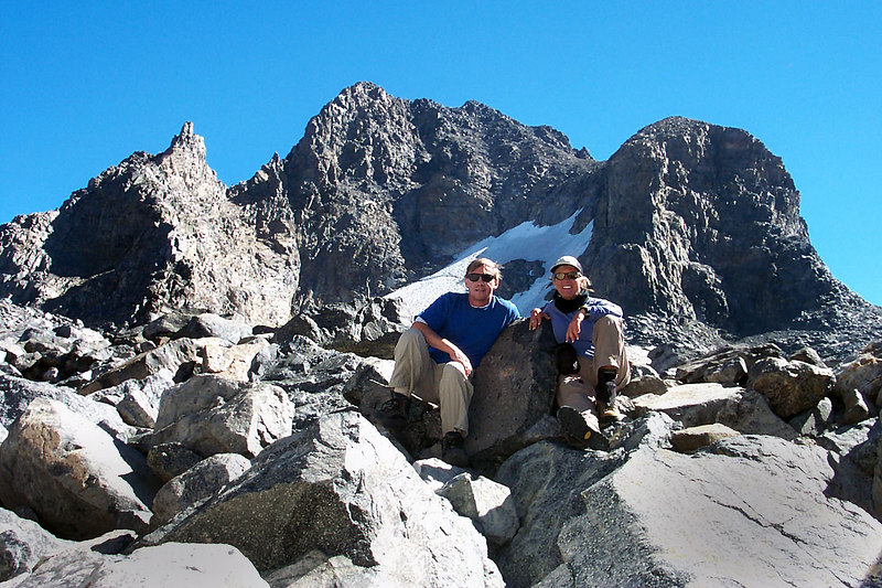 Me and Sooz on North Glacier Pass 11,200' with Banner Peak behind us. This is far as we hiked. We had great views of Banner, Ritter and Lake Catherine from here.