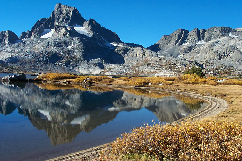 The view of Banner Peak as we hiked along Thousand Island Lake looking for a campsite.