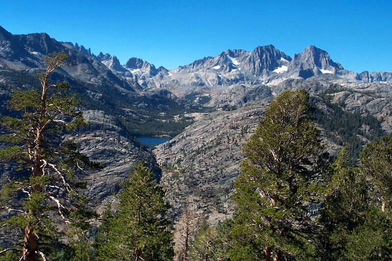 Looking down on Shadow Lake from the High Trail. The Minarerts, Mt Ritter and Banner Peak in the background.
