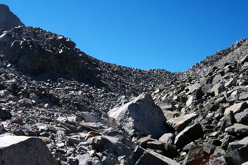 Looking up towards the false pass, the real one is a short ways behind.