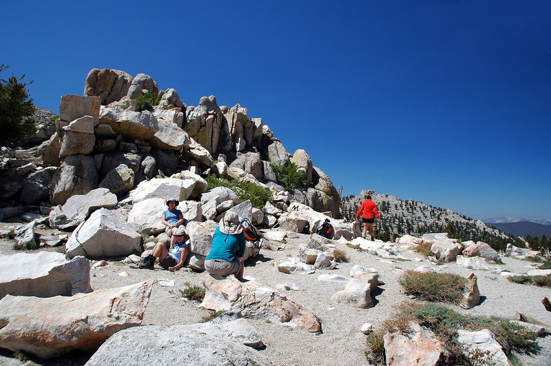 The group taking a break on Cottonwood Pass at 11,120 feet.