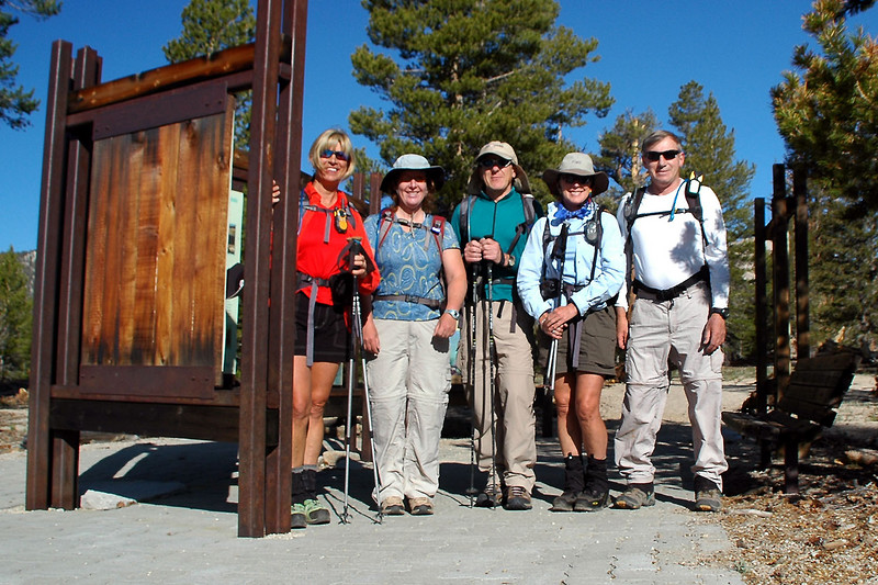 Sooz, Kathy, Dennis, Norma and me, Joe at the Cottonwood Pass Trailhead at 9,950 feet. Plan is to hike to Trailmaster Peak and then on to Cirque Peak.
