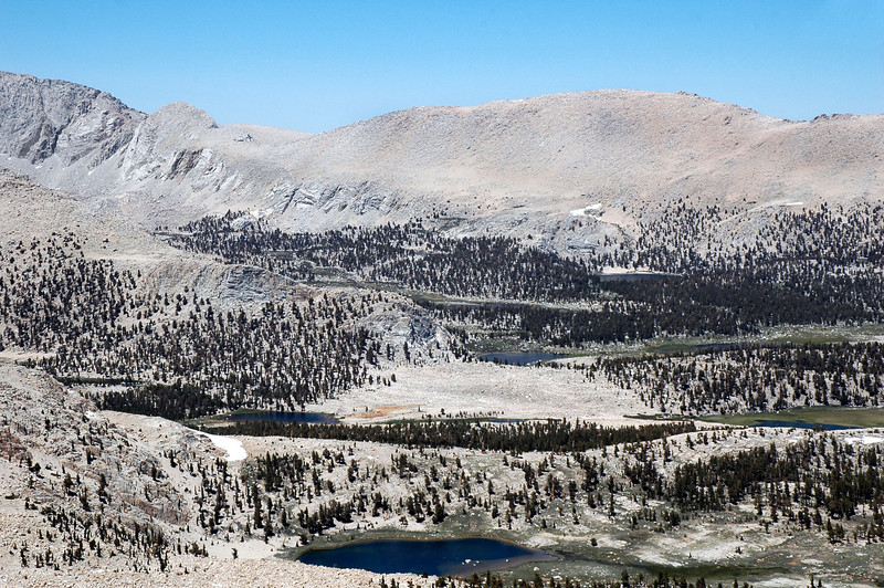 To the east of Mount Langley, The Fin and Woollyback, also some of the lakes in the Cottonwood Lakes area.