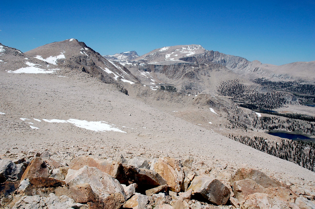 View to the north with Cirque Peak, Mount Whitney and Mount Langley.