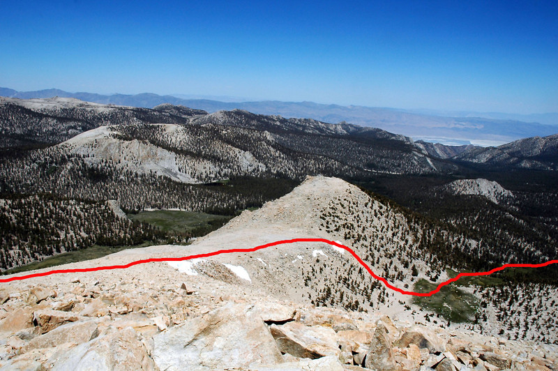 This view to the east showing the route we'll take down.