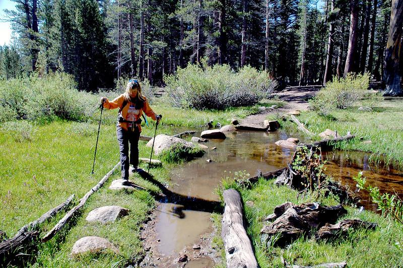 Sooz on one of the stream crossings.