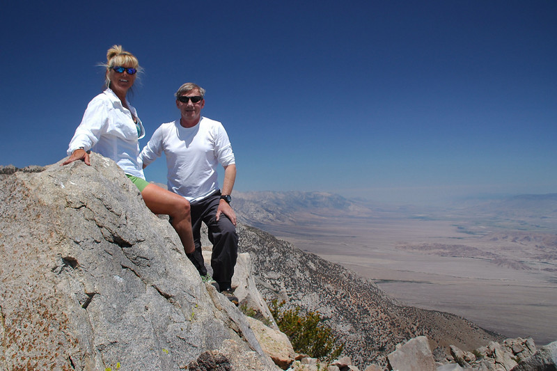 Sooz and I on Wonoga Peak at 10,371 feet with a view up the Owens Valley.