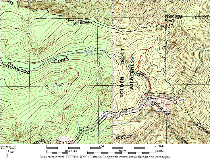 Map showing the route we used for Wonoga Peak. It was about a 1,100 foot gain in under one mile. This peak makes a nice short hike with great views up and down the Owens Valley. <br /> <br /> THE END