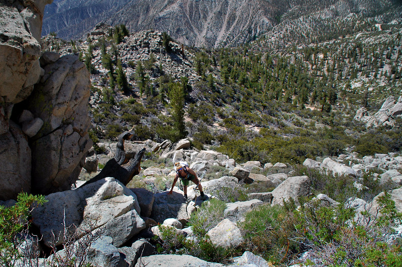 There was a pile of rocks to climb before reaching the summit block.