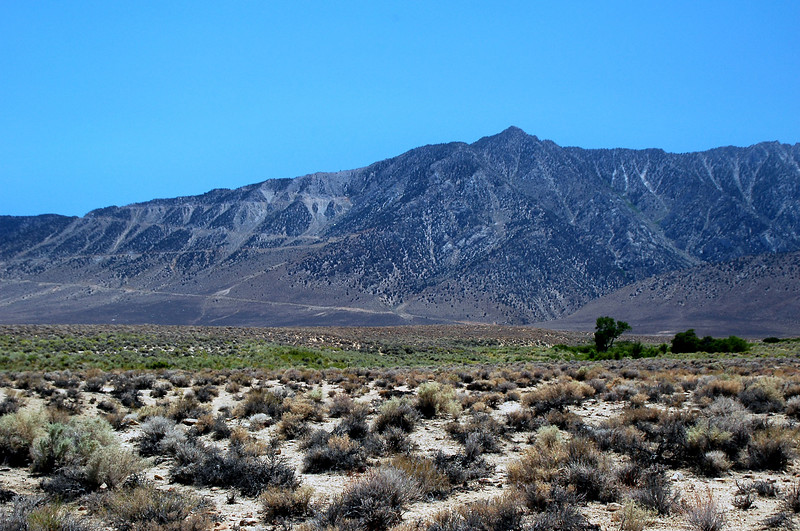 View of Wonoga Peak from Lubken Canyon Road. The switckbacks are part of the Horseshoe Meadow Road.