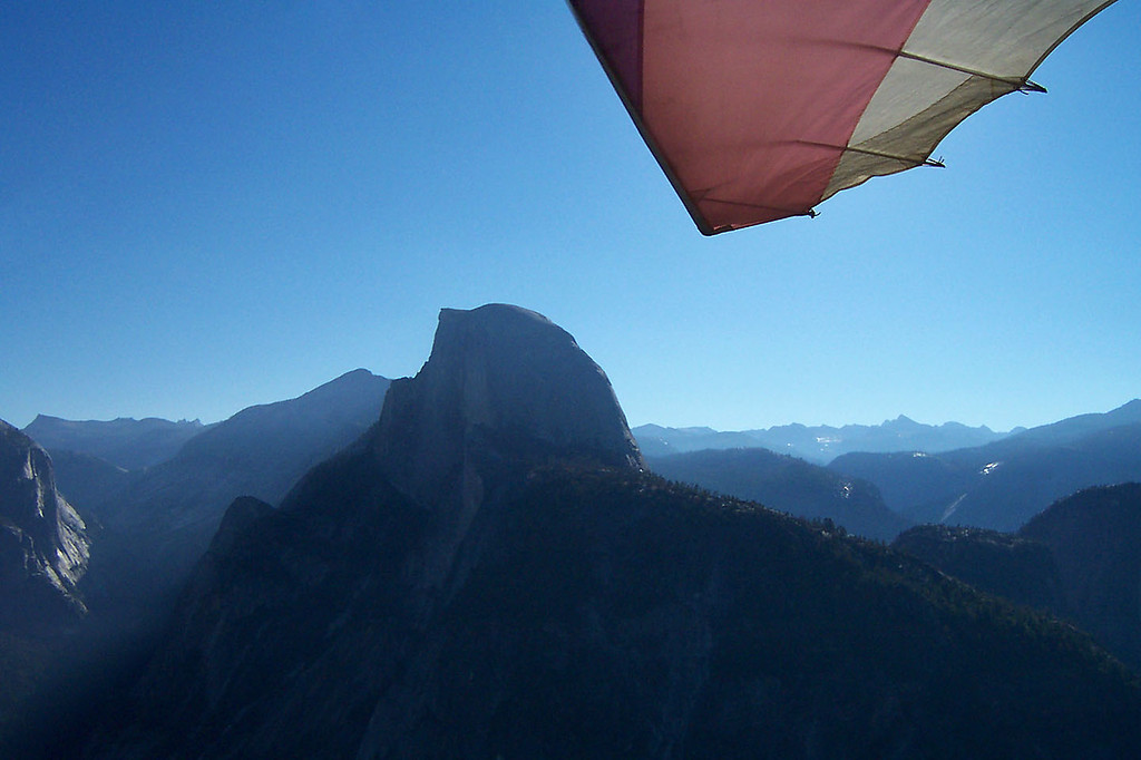 An airshot of Half Dome.